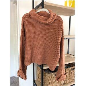 Free People turtleneck sweater, burnt orange, xs
